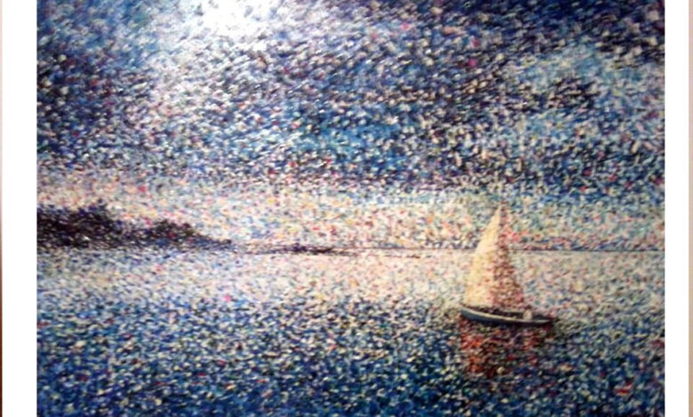Francesco Tortora, Barca a vla, acrilico, 50x70