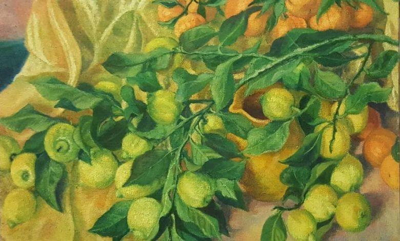 Amelia-Moretti-Natura-morta-con-limoni-olio-a-pennello-su-juta-70x80x2cm-1974