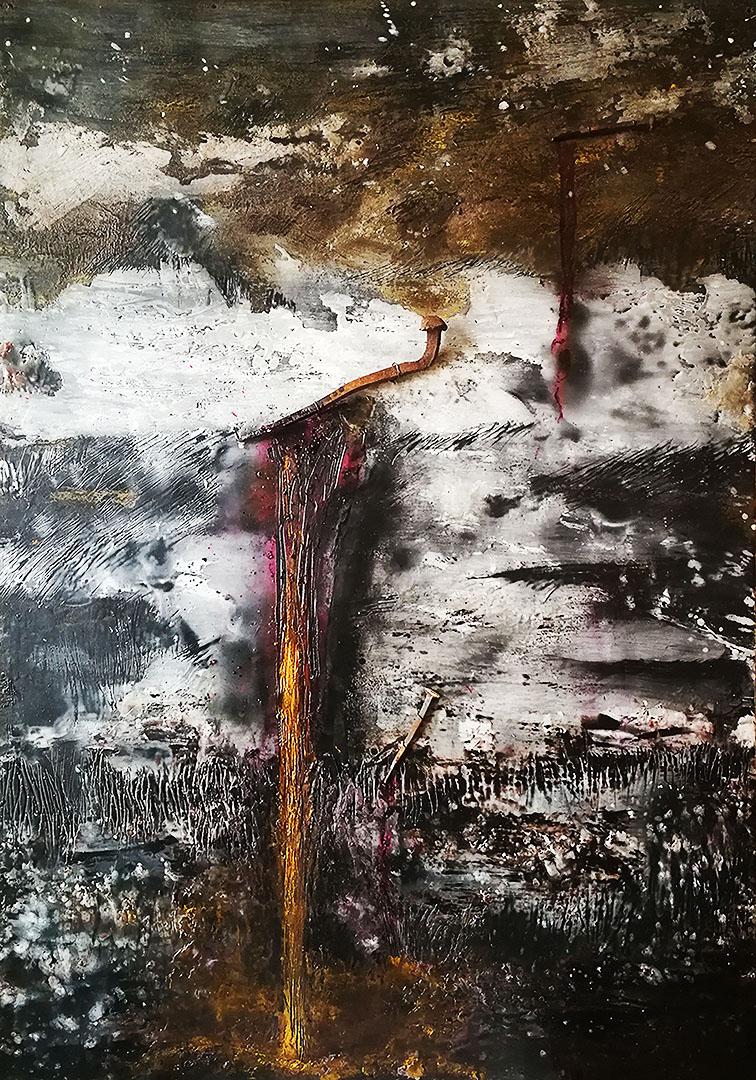 BOSISIO Elisabetta Il sacro Chiodo, encausto, 100x70
