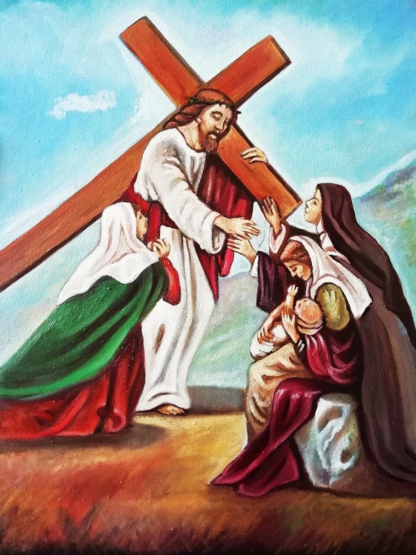 CAIAZZA Lucia- Gesu incontra le Pie donne, olio su tela, cm 30x40