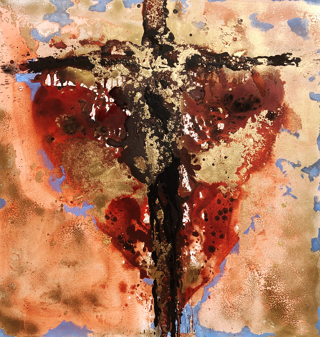 CANTONI Claudia - CroceCuore di Cristo 100x100 mixed media