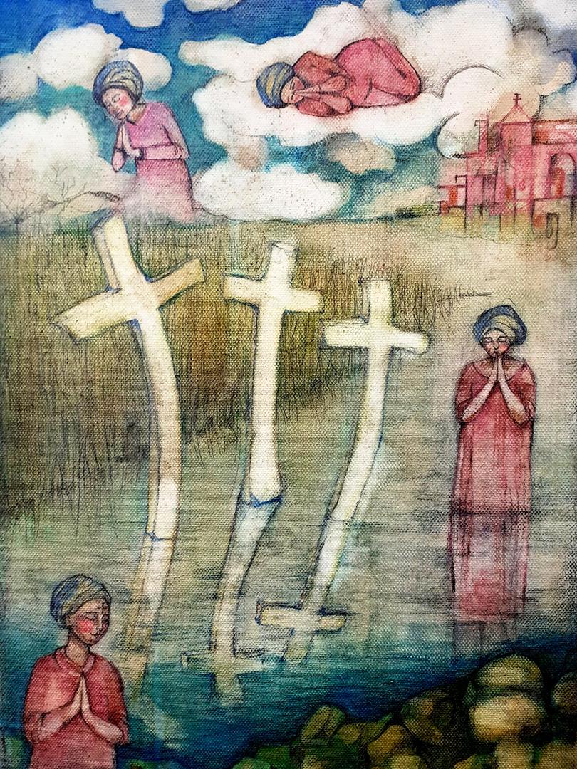 COTIGNOLI Barbara, Nel Segno della Croce- mixed su tela 30x40