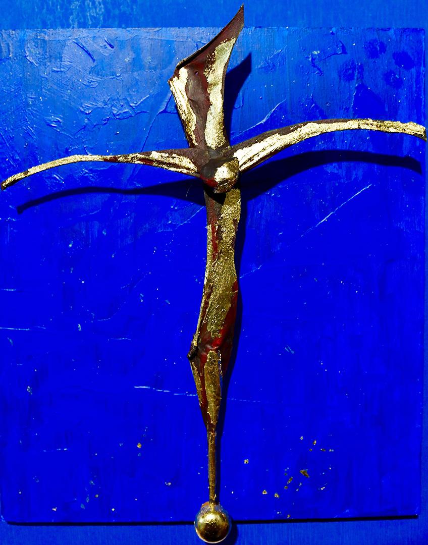 ESPOSITO Isidoro - Croce su cielo stellato, pergamena, acrilici e doratura su tavoletta di fondo 36x26