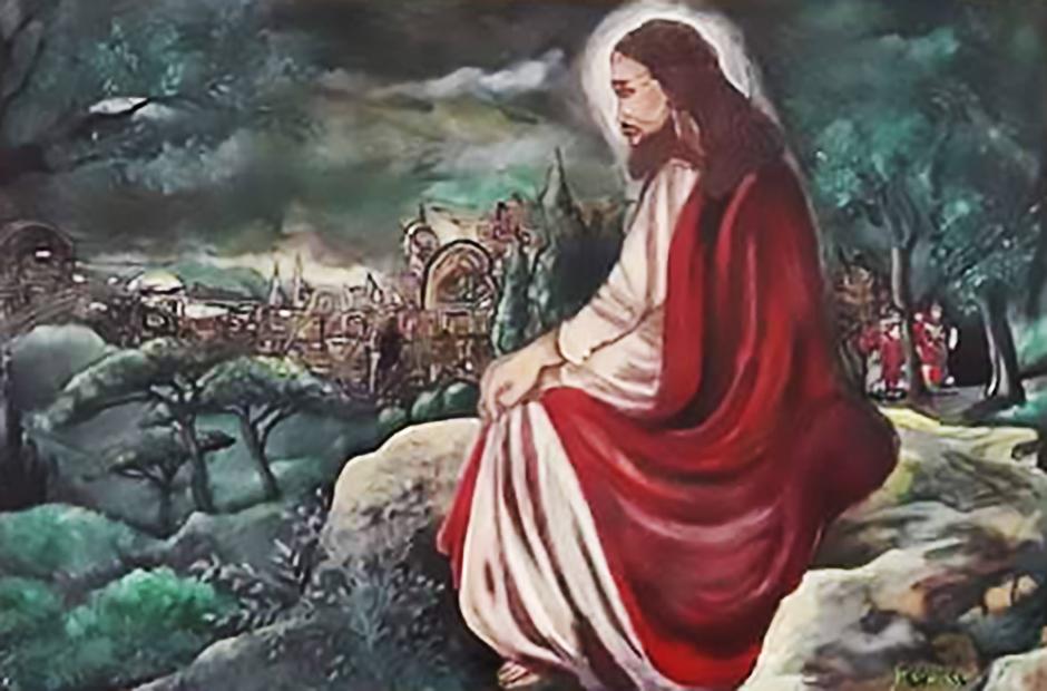 MASUCCI Silvana, Gesù tra gli ulivi , acrilico, 50x70