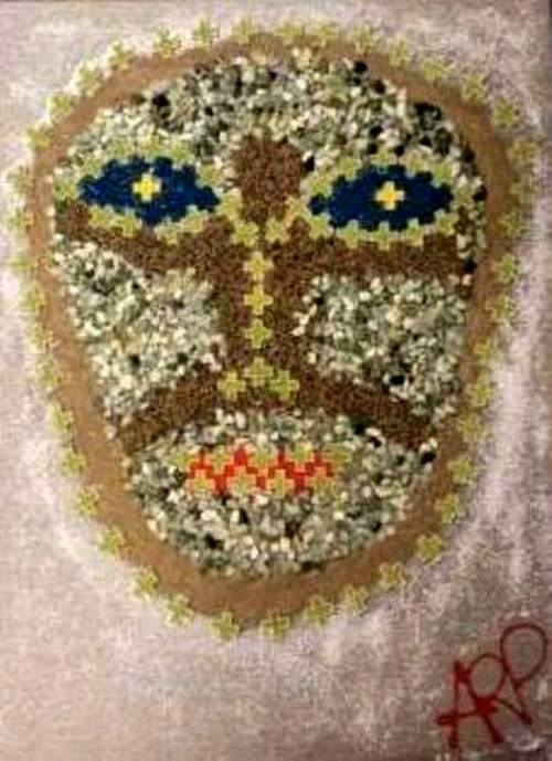 """RAMELLA Alessandro""""Mi alieno"""" Opera su tela di lino tecnica mista acrilico, colla vinilica, plastica, sassi, sabbia fine, sabbie colorate e ghiaino. cm 4050 anno 2019"""