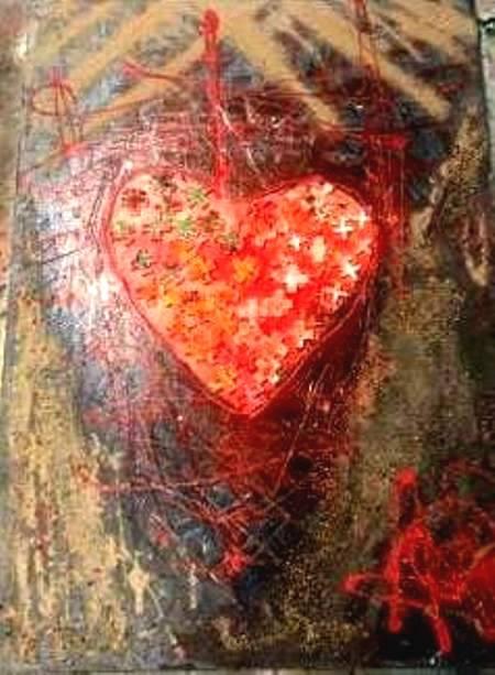 """RAMELLA Alessandro- Cuore incuneato"""" Dipinto su tela con tecnica mista acrilico, colla vinilica, plastica, sabbia fine e ghiaino. cm 50x70 anno 2019"""