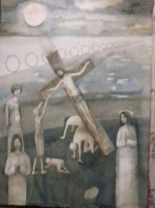 XII-Cotignoli-XII-Stazione-Gesu-in-Croce-la-madre-e-il-Discepolo - acquerello 50x70