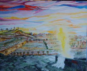 XV-Resurrezione-Via-Lucis-ZAMBRANO-Raffaella- acquerello, 50x70