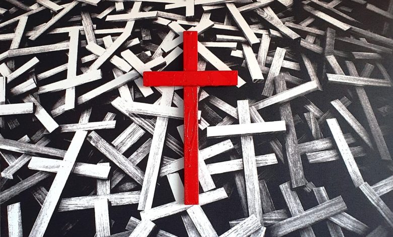 Giovanni-Ronzoni-Stazione-7-Gesù-è-caricato-della-Croce-50x70-cm.-tecnica-mista-_-tela-fotografica-stampata-su-multistrato-e-legno-smaltato-_-2020