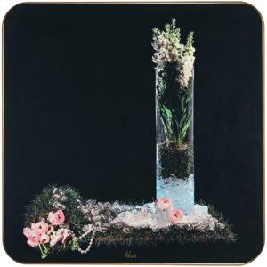 Clalusa, Preludio-Stampa digitale su tavola con cornice finitura effetto oro, retro laccata, cm 50x50